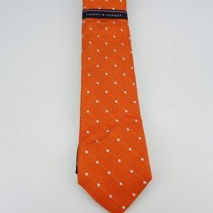 Tommy Hilfiger Orange Polka Dot Neck Tie Silk NWT